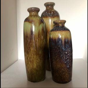 Set of 3 Decorative Vases Earth Tones